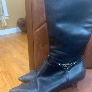 Preowned Gucci Blk Leather Boots sz 8